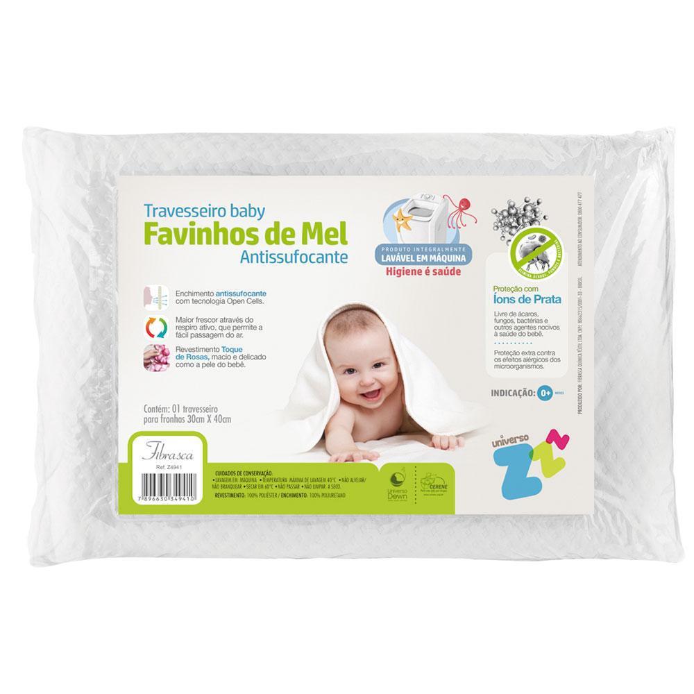 Travesseiro Baby Favinhos de Mel Antissufocante Lavável