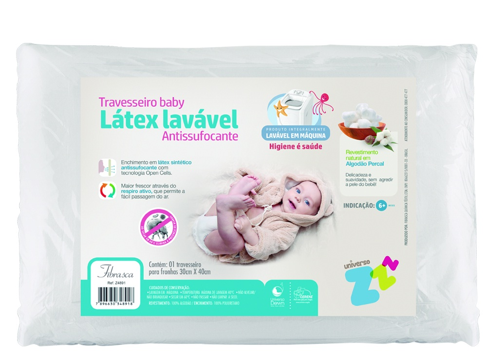Travesseiro Baby Lálex Lavável  Antissufocante