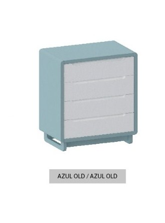 Cômoda Bo Azul Old com 4 gavetas e pés em Color