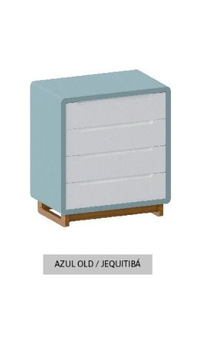 Cômoda Bo Azul Old com 4 gavetas e pés em Jequitibá