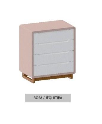 Cômoda Bo Rosa Old com 4 gavetas e pés em Jequitibá