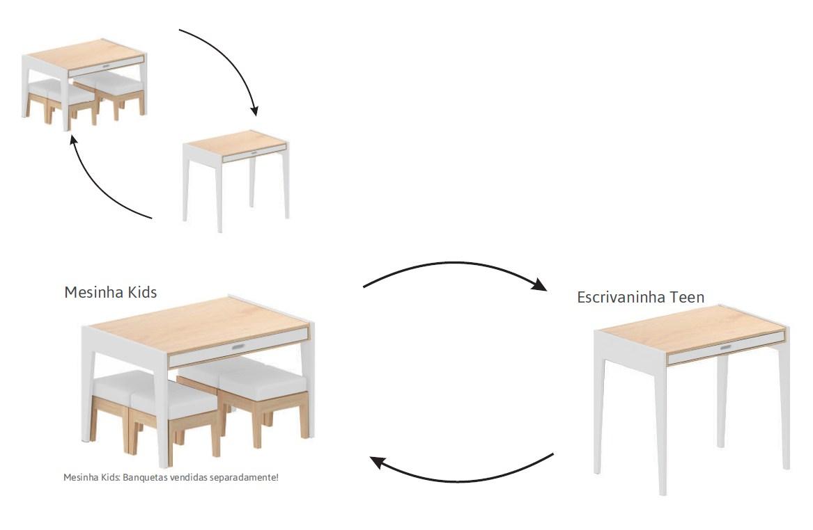 Mesa/ Escrivaninha Smart Branco com Madeira